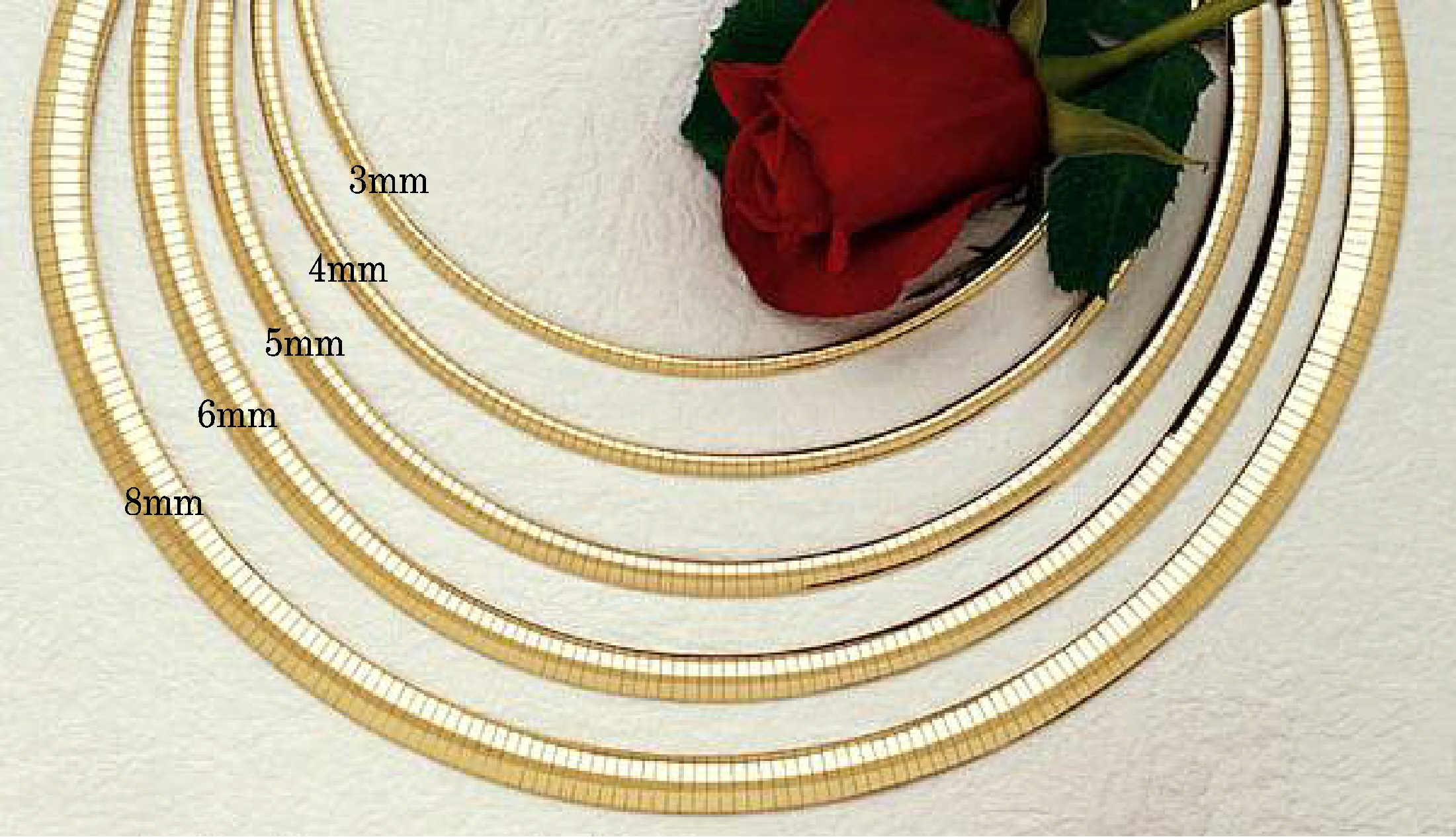 14k yellow gold 6mm wide domed omega necklace 18 length for Roy rose jewelry fairhope al
